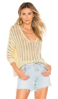 Tularosa Bergamot Sweater in Pale Yellow | slouchy V-neck knit