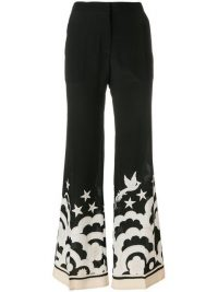 VALENTINO contrast print wide-leg trousers in black and white | monochrome printed pants