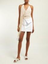 JACQUEMUS Valoria fringed tweed top in beige ~ glamorous halterneck