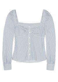 VERONICA BEARD Frankie white cotton-blend top ~ fresh summer stripes