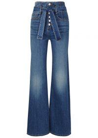 VERONICA BEARD Rosanna blue denim jeans ~ front button / high tie waist