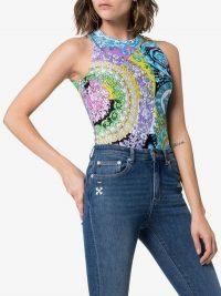 Versace Floral Print Sleeveless Bodysuit / multicoloured bodysuits