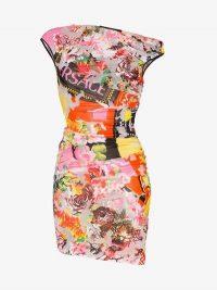 Versace Floralmania Print Draped Mini Dress / asymmetric neckline bodycon