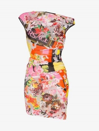 Versace Floralmania Print Draped Mini Dress / asymmetric neckline bodycon