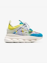 Versace Multicoloured Chain Reaction Leather Sneakers | sports luxe trainers