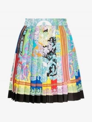 Versace Printed Pleated Silk Mini Skirt / multicoloured floral pleats