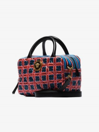 Versace Red And Blue Quilted Top Handle Leather Cross Body Bag / checked print handbag