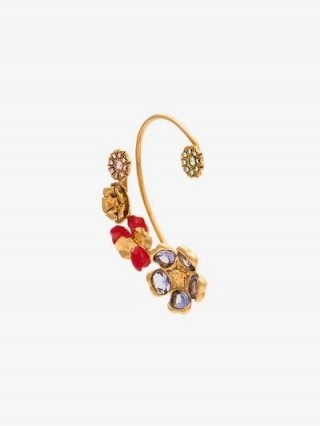Versace Red And Gold Tone Flower Ear Cuff / floral jewellery