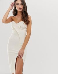 Vesper bandeau midi dress with thigh split in stone | strapless bodycon
