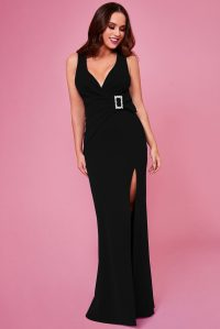 VICKY PATTISON – BUCKLE FRONT MAXI DRESS – BLACK | Goddiva
