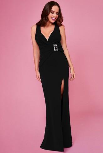 VICKY PATTISON – BUCKLE FRONT MAXI DRESS – BLACK   Goddiva