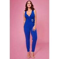 VICKY PATTISON – BUCKLE PLUNGE JUMPSUIT – ROYALBLUE | Goddiva