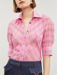 VICTORIA VICTORIA BECKHAM Checked cotton and silk-blend shirt in hot-pink