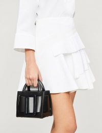 VICTORIA VICTORIA BECKHAM Contrast pleated-tier crepe mini skirt in white | tiered ruffles