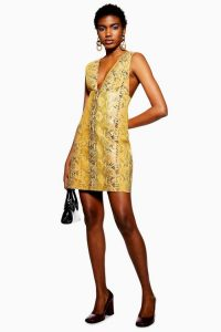 TOPSHOP Vinyl Snake Leather Pinafore Dress in Ochre