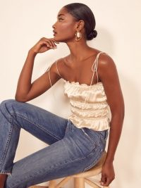 Reformation Viviana Top in Ivory | luxe smocked camisole