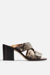 TOPSHOP VIVID Snake Mule Sandals / reptile print block heel mules