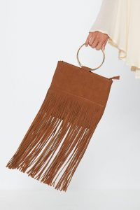 NASTY GAL Fringe on This Circle Handle Bag in Tan ~ brown boho bags