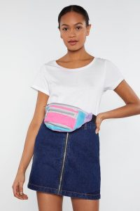 NASTY GAL In Your Primary Colorblock Fanny Pack in Pink