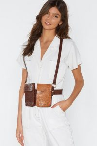 NASTY GAL We Will Croc You Harness Belt Bag in Brown