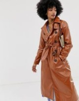 Warehouse patent trench coat in tan   glossy brown belted mac   spring outerwear