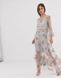 We Are Kindred Maryjane detail hem maxi dress in lilac mist | feminine occasion dresses