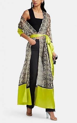 WE ARE LEONE Python-Print Silk Maxi Robe ~ neon-green trim
