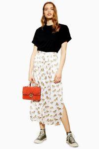 Topshop Western Horse Wrap Midi Skirt in Ivory | side slit skirts