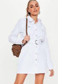 Missguided white button through utility denim shirt dress