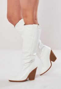 MISSGUIDED white calf height western cowboy boots