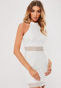 Missguided white lace 90s neck mini dress | floral party fashion