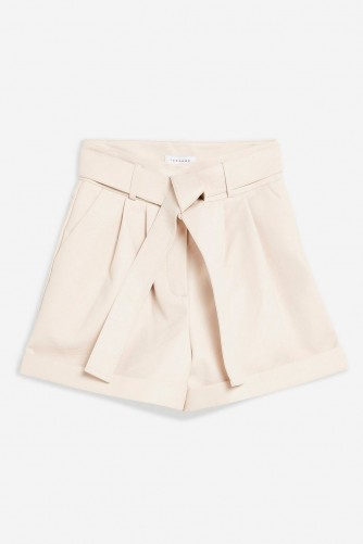 Topshop White Leather Look Oversized Shorts | tie waist short