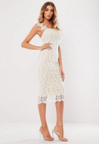 Missguided white one shoulder crochet midi dress | luxe style pencil dresses