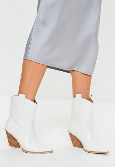 MISSGUIDED white patent croc curved heel cowboy boots – western style