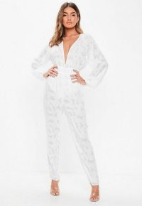 Missguided white plunge bell sleeve jumpsuit | plunging jumpsuits