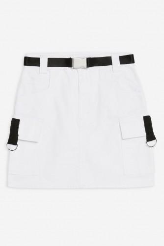 Topshop White Silver Clip Denim Skirt | casual mini skirts