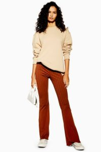 Topshop Wide Ribbed Flares in Brown | jersey flared pants
