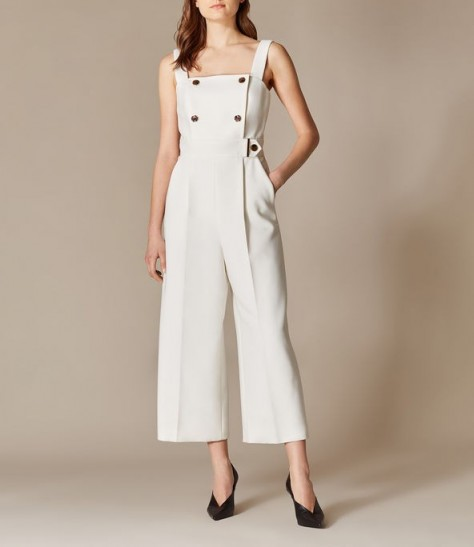 KAREN MILLEN Wide-Leg Tailored Jumpsuit in Ivory ~ cropped leg jumpsuits ~ square neckline