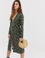 Wild Honey long sleeve midi tea dress in dark green vintage floral | plunge front neckline