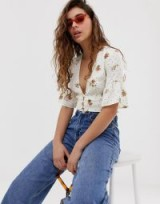 Wild Honey tea blouse with plunge front in floral in white | plunging crop top