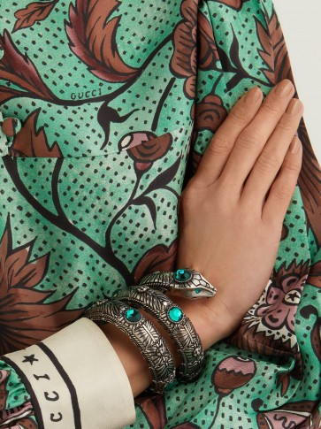 GUCCI Winding Snake sterling-silver and green crystal cuff