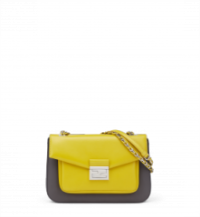 Fendi BE BAGUETTE shoulder bag Bicolor citrus yellow and asphalt grey. Designer bags / womens accessories.