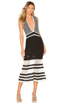 X by NBD Lana Midi Dress in Black and Ivory | monochrome plunge front frock
