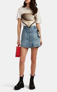 3X1 Rose Denim Button-Front Miniskirt in Ford ~ blue patch pocket mini skirt