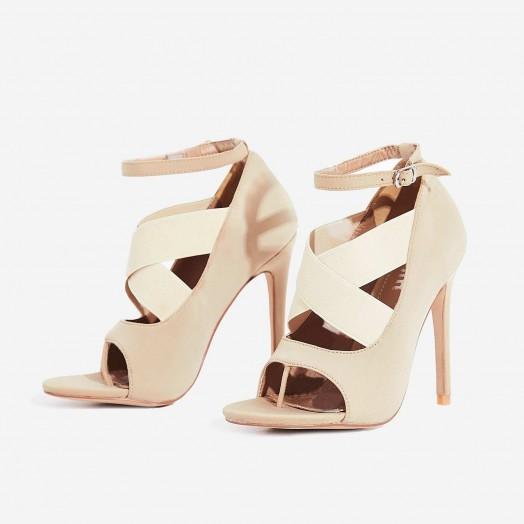 EGO Yara Caged Elasticated Peep Toe Heel In Nude Lycra ~ cross front party heels