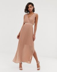 Y.A.S pleated wrap maxi dress in Cafe au lait