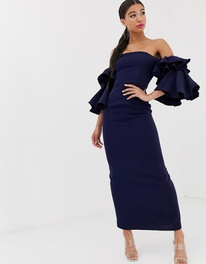Yaura bardot exaggerated frill sleeve maxi dress in navy – off the shoulder party wear