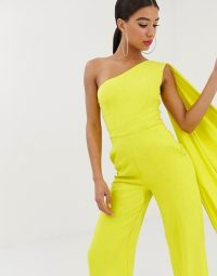 Yaura one shoulder wide leg jumpsuit with train detail in lime – statement party fashion