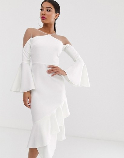 Yaura sheer insert ruffle frill hem midi dress in white – frill trimmed party dresses