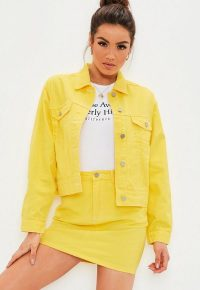 MISSGUIDED yellow denim contrast stitch co ord jacket